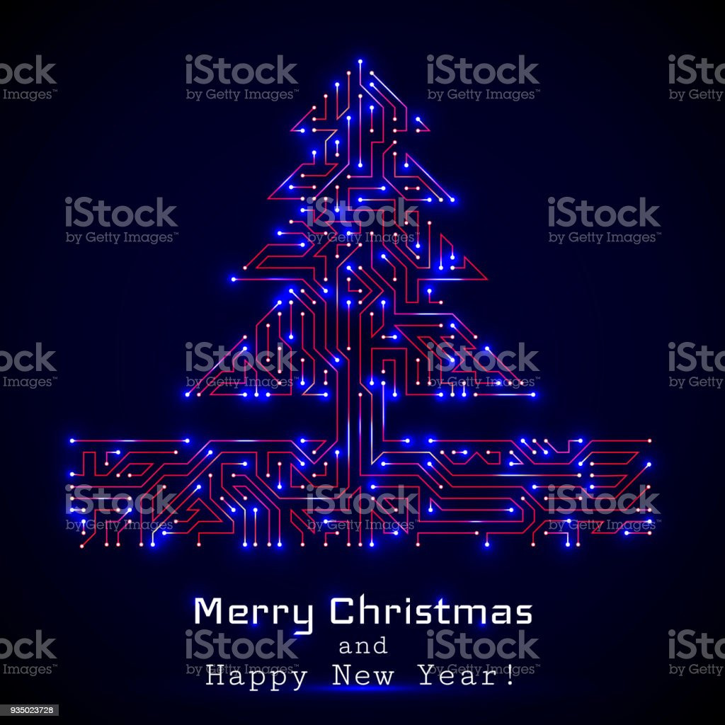 Vector Christmas Tree From Digital Electronic Circuit Stock What Is Royalty Free