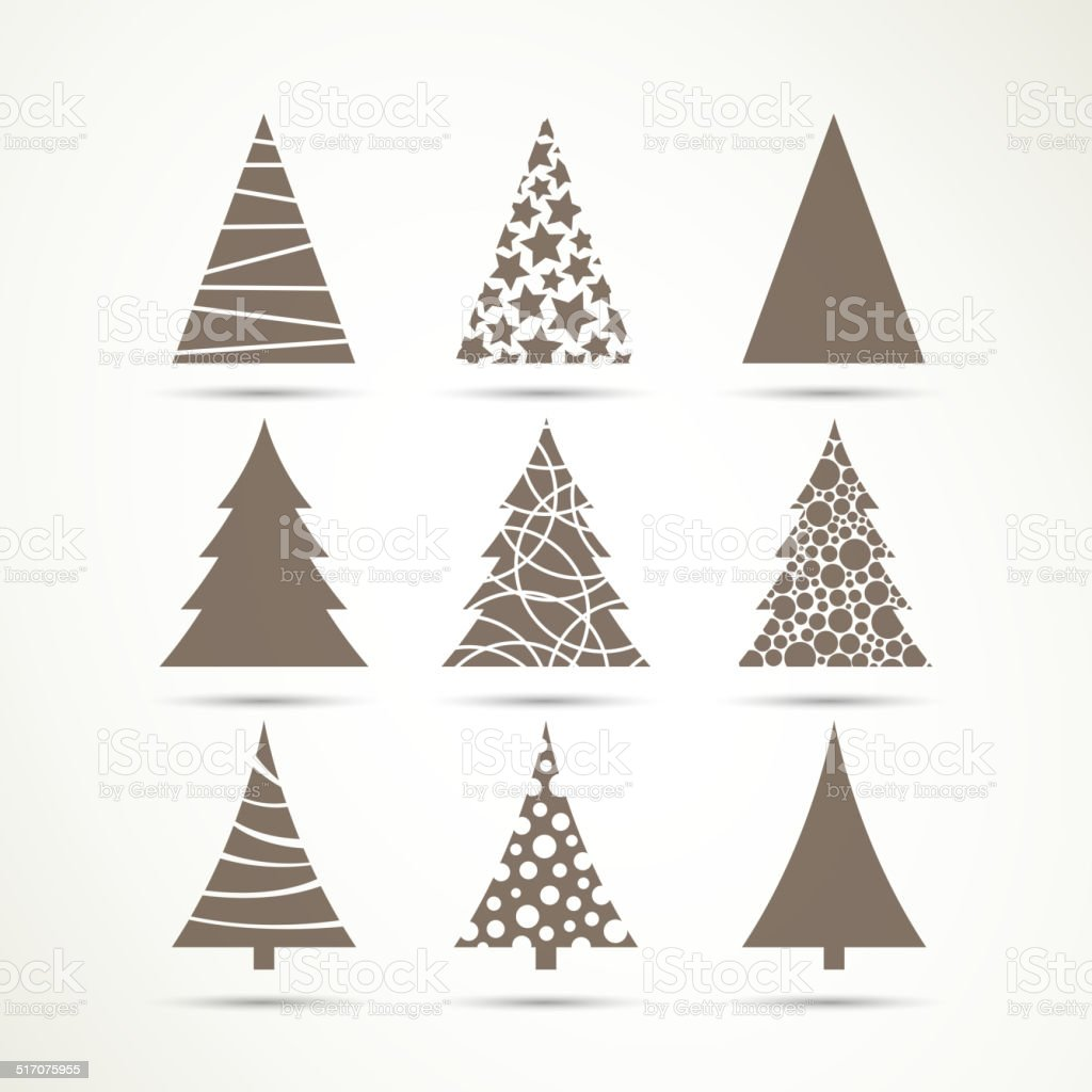 Vector Christmas Tree Icons vector art illustration
