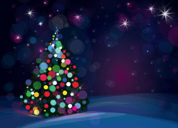 Vector Christmas tree on starry background. Background is my creative handdrawing and you can use it for Christmas design and etc, made in vector, Adobe Illustrator 10 EPS file, transparency effects used in file. light through trees stock illustrations