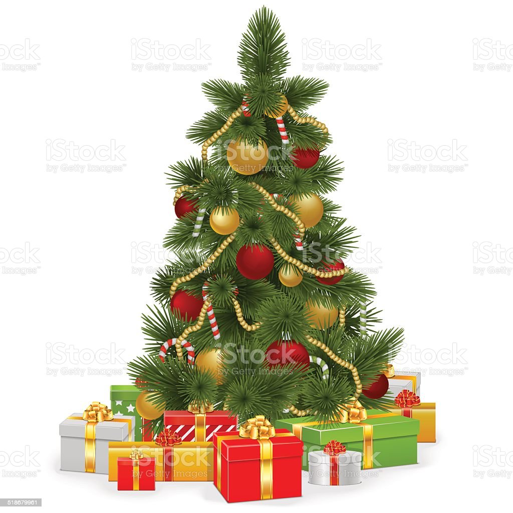 Vector Christmas Tree with Gifts vector art illustration