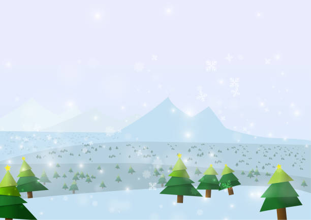 Vector : Christmas trees with snowflake on ice background vector art illustration