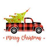 istock Vector christmas truck with buffalo plaid and fir. 1285831209