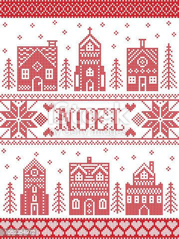 istock Vector Christmas village pattern Noel inspired by Nordic culture festive winter in cross stitch with hearts, reindeer, decorative ornaments, snowflake, church, chapel, house in red, white cross stitch 1052354972