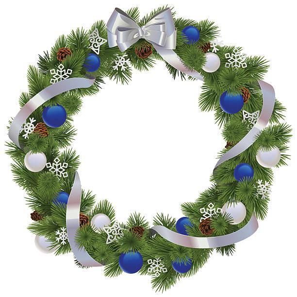 Vektor Weihnachten Kranz mit blaue Dekorationen – Vektorgrafik