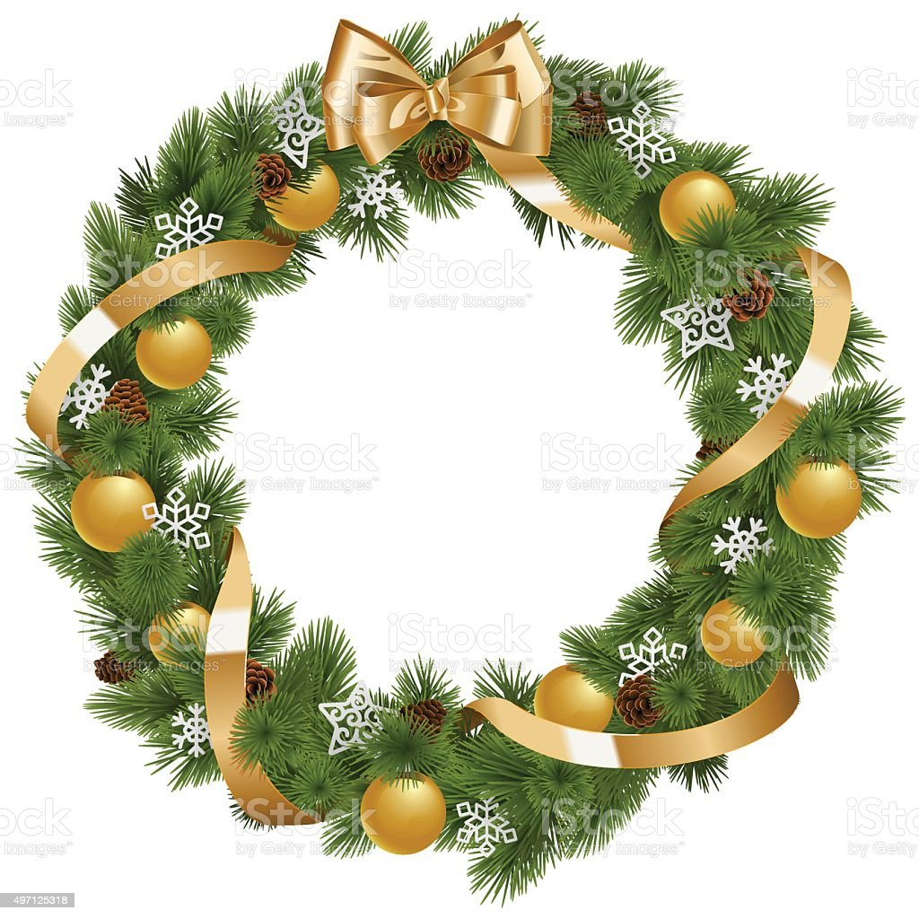 Vector Christmas Wreath with Golden Decorations vector art illustration