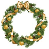 Vector Christmas Wreath with Golden Decorations