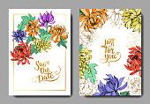 Vector Chrysanthemum floral botanical flowers. Engraved ink art. Wedding background card floral decorative border. Thank you, rsvp, invitation elegant card illustration graphic set banner.