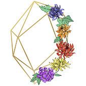 Vector Chrysanthemum floral botanical flowers. Wild spring leaf wildflower isolated. Engraved ink art. Frame border crystal ornament square.