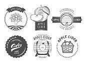 Vector cider labels. Set of vintage badges for apple cider drink.