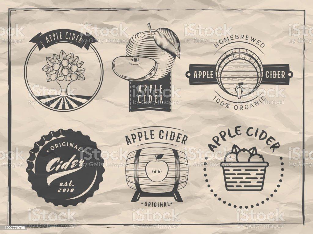 Vektor-Apfelwein-Logos und Abzeichen. – Vektorgrafik