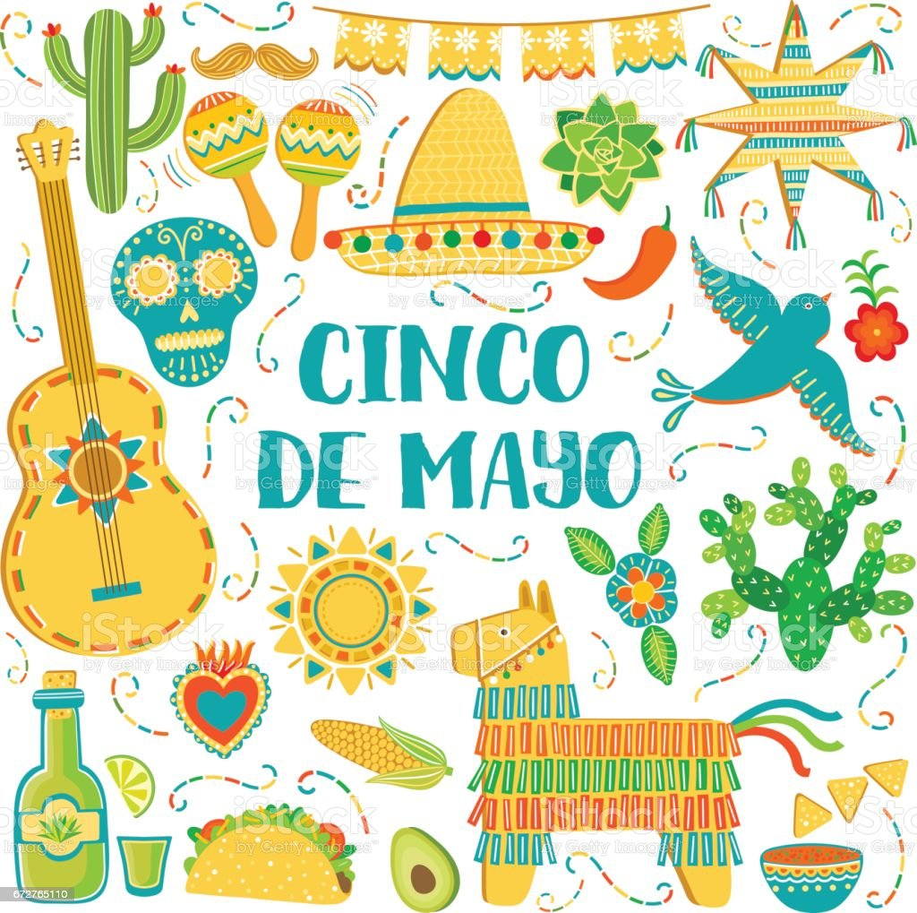 Vector Cinco De Mayo Background Mexican Symbols Greeting Card Royalty Free