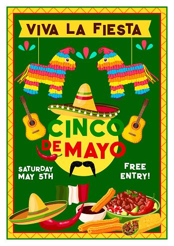 Vector Cinco de Mayo Mexican holiday party flyer