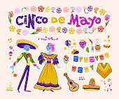 Vector cinco de mayo set of mexico traditional elements, symbols & skeleton characters in flat hand drawn style isolated on white background.