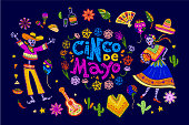 Vector cinco de mayo set of mexico traditional elements, symbols & skeleton characters in flat hand drawn style isolated on dark background.