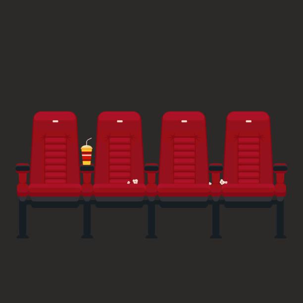 vektor-kino stühle in flachen stil - stuhllehnen stock-grafiken, -clipart, -cartoons und -symbole