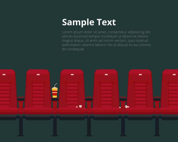vektor-kino poster mit beispieltext stühlen - stuhllehnen stock-grafiken, -clipart, -cartoons und -symbole