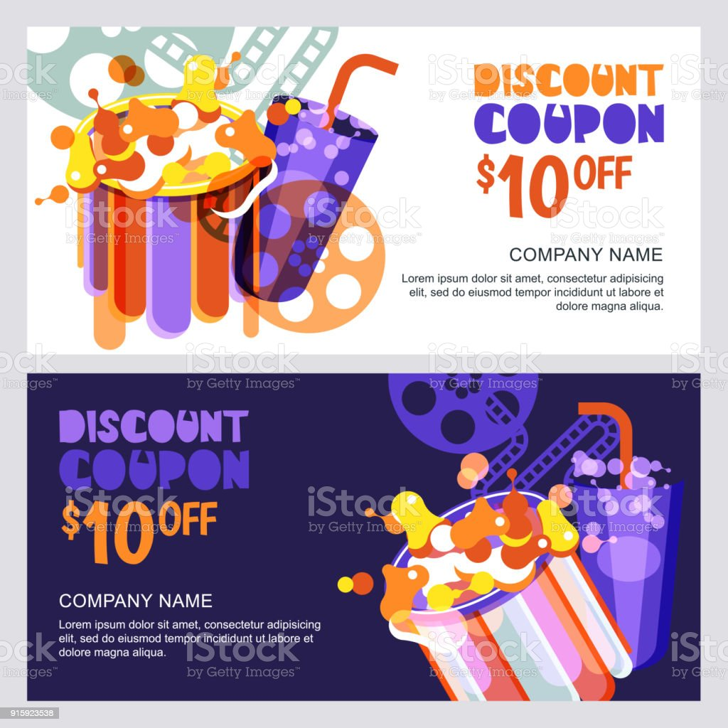 Vector Cinema Discount Coupon Or Voucher Template Design Elements For Movie Flyer Entrance Ticket
