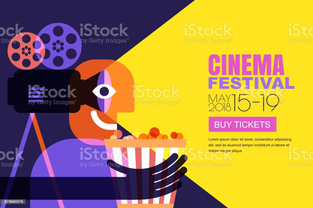 Vector cinema festival poster, flyer background. Sale tickets banner background. Movie time and entertainment concept. royalty-free vector cinema festival poster flyer background sale tickets banner background movie time and entertainment concept stock illustration - download image now