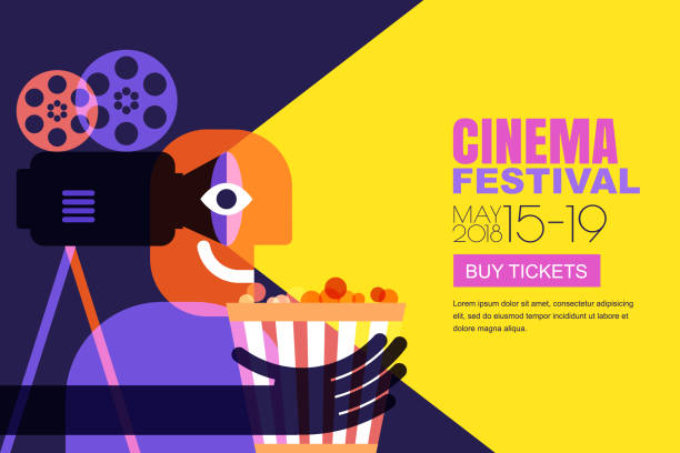 Vector cinema festival poster, flyer background. Sale tickets banner background. Movie time and entertainment concept. vector art illustration