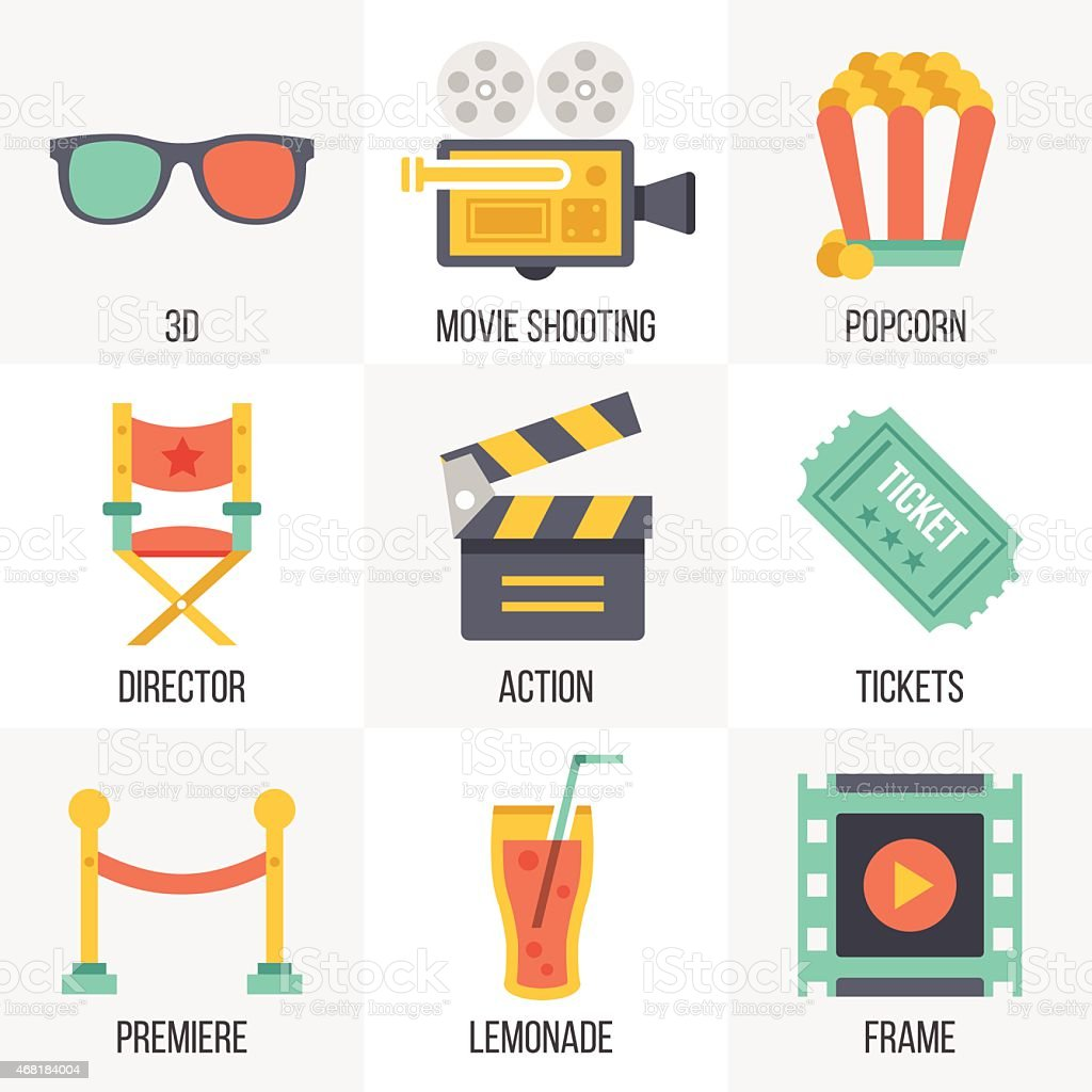 Vector cinema icons set. Set 12