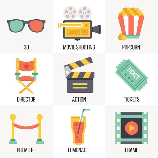 illustrations, cliparts, dessins animés et icônes de vecteur ensemble d'icônes de cinéma. ensemble de 12 - camera sculpture