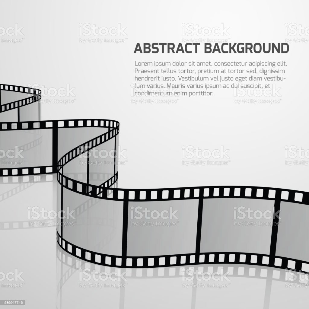 Vector cinema movie background with retro film strip roll vector art illustration