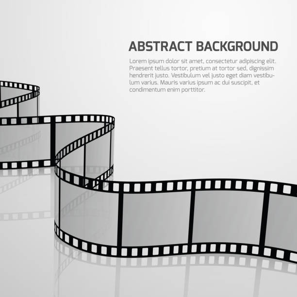 illustrazioni stock, clip art, cartoni animati e icone di tendenza di vector cinema movie background with retro film strip roll - pellicola