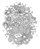 Vector Cinema, movie, film doodles hand drawn sketch.  symbols and