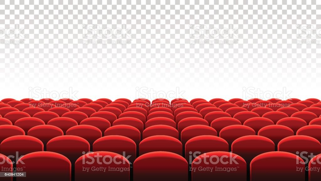Vector Cinema or Theater rows of red seats vector art illustration
