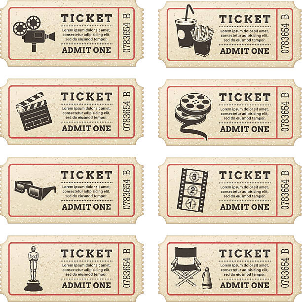 Vector Cinema tickets Eight hi quality vector cinema tickets. Each ticket is orgenized in 3 layers, separating background from art and text. movie ticket stock illustrations