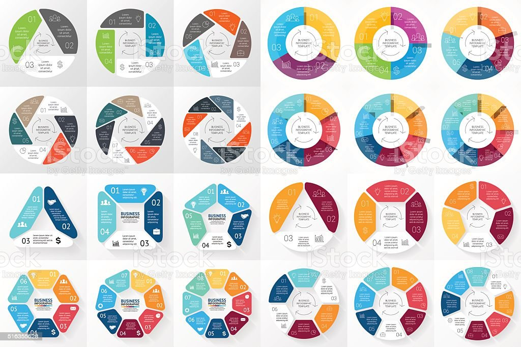 Vector circle arrows infographic. 3, 4, 5, 6, 7, 8 vector art illustration