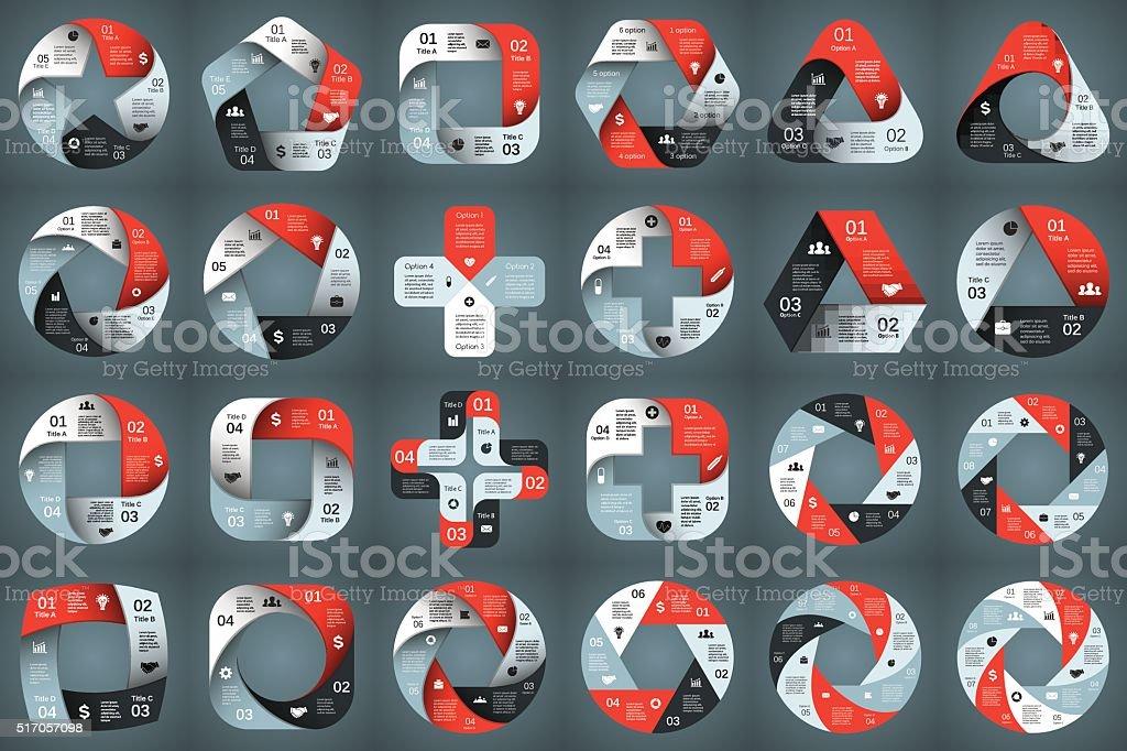 벡터 원형 화살표 인포그래픽. 3, 4, 5, 6, 7, 8 벡터 아트 일러스트