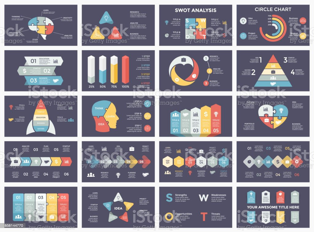 向量圓圈箭頭圖、 循環圖表、 業務圖、 演示文稿圖表。選項有一部分,一步,過程。人體頭部益智腦、 燈泡、 公事包、 時間軸、 啟動火箭、 金字塔、 心的愛、 SWOT 分析向量藝術插圖
