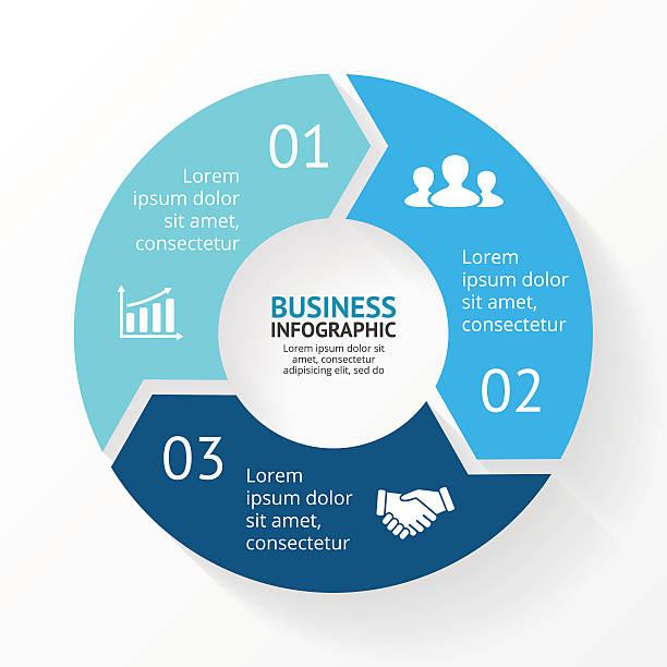 stockillustraties, clipart, cartoons en iconen met vector circle arrows infographic, cycle diagram, graph. presentation chart. business - drie personen
