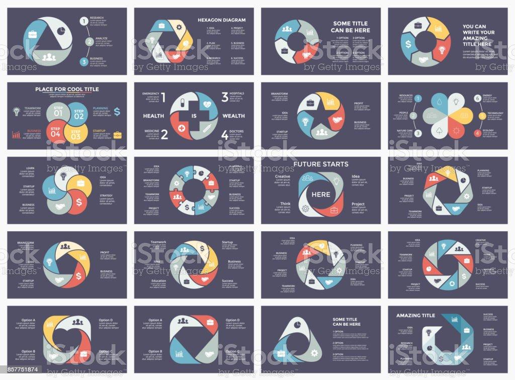 Vector círculo flechas infografía, diagrama, gráfico, carta de presentación del ciclo. Concepto de negocio con 3, 4, 5, 6, 7, 8 opciones, piezas, medidas, procesos. paquete de plantillas de diapositiva oscura 16 x 9 - ilustración de arte vectorial