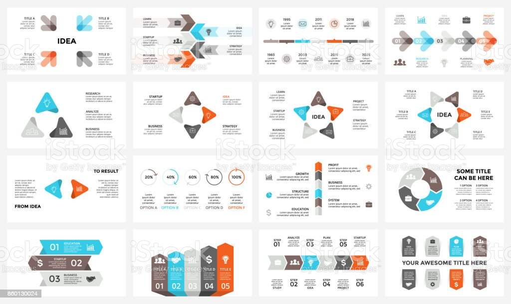 Vector circle arrows infographic, cycle diagram, graph, presentation chart. Business concept with 3, 4, 5, 6, 7, 8 options, parts, steps, processes. 16x9 slide template royalty-free vector circle arrows infographic cycle diagram graph presentation chart business concept with 3 4 5 6 7 8 options parts steps processes 16x9 slide template stock illustration - download image now