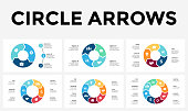 Vector circle arrows infographic, cycle diagram, graph, presentation chart. Business concept with 3, 4, 5, 6, 7, 8 options, parts, steps, processes