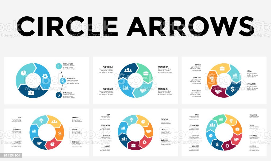 Vector circle arrows infographic, cycle diagram, graph, presentation chart. Business concept with 3, 4, 5, 6, 7, 8 options, parts, steps, processes - ilustração de arte vetorial