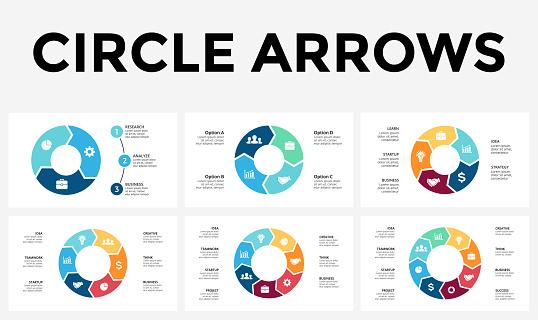 Vector Circle Arrows Infographic Cycle Diagram Graph Presentation Chart Business Concept With 3 4 5 6 7 8 Options Parts Steps Processes - Stockowe grafiki wektorowe i więcej obrazów Badacz rynku