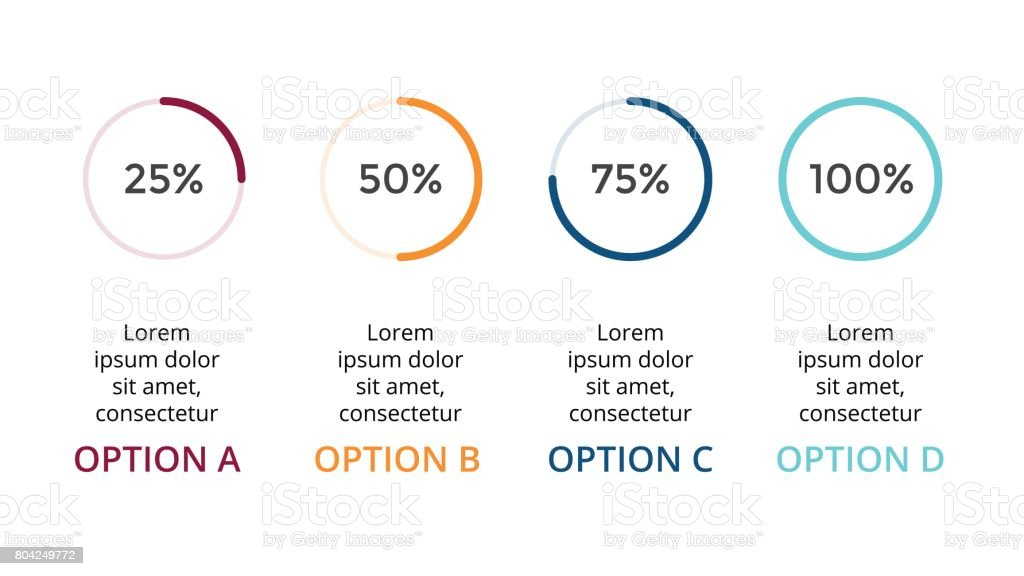 Vector circle arrows infographic, cycle percents diagram, status graph, presentation chart. Business concept with 4 options, parts, steps, processes. 16x9 slide template vector art illustration