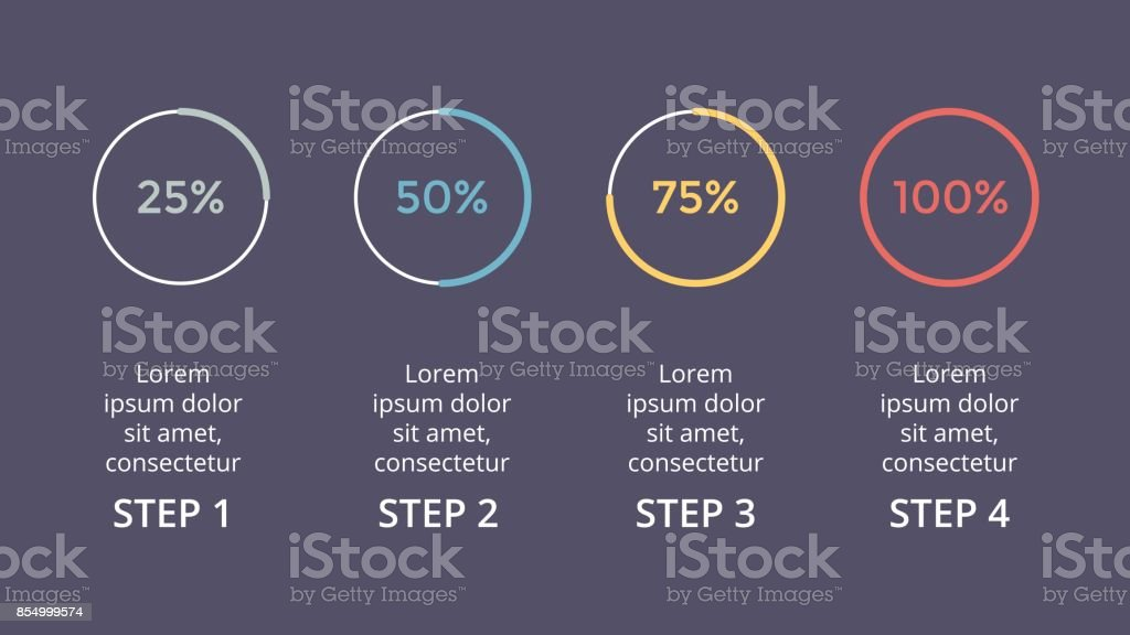 Vector circle arrows infographic, cycle percents diagram, status graph, presentation chart. Business concept with 4 options, parts, steps, processes. 16x9 slide dark template vector art illustration