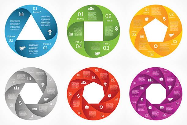 wektor koło strzałki infographic.   szablon dla cyklu, schemat, wykresu, prezentacji - rower stock illustrations