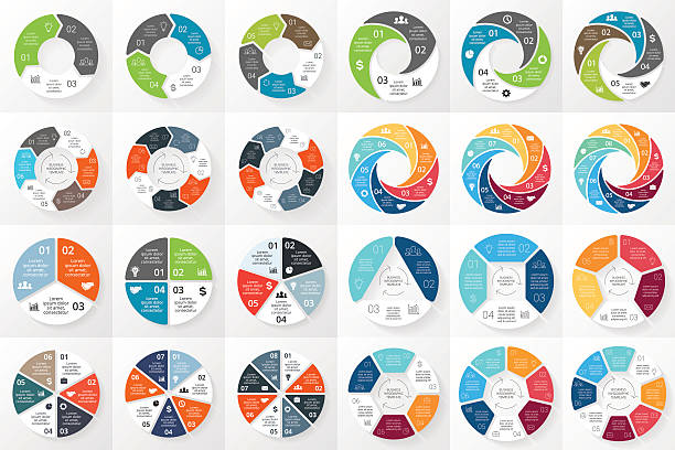 wektor koło strzałki infographics pakiet. wzór dla cyklu schemat, wykresu - część stock illustrations