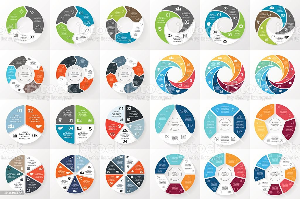 Vector circle arrows infographics bundle. Template for cycle diagram, graph vector art illustration