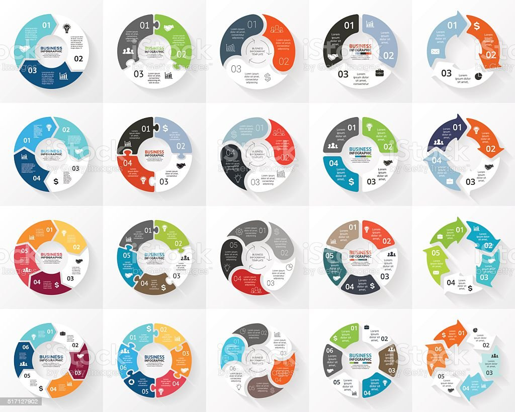 Vector circle arrows infographics set. 3, 4, 5, 6 options vector art illustration
