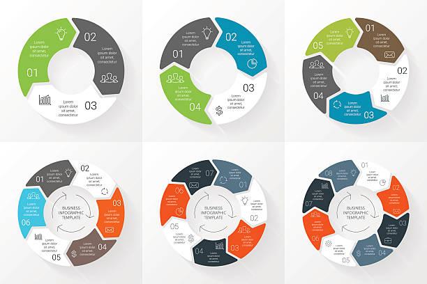 wektor koło strzałki infografiki zestaw.   szablon dla cykl wykres wykres - rower stock illustrations