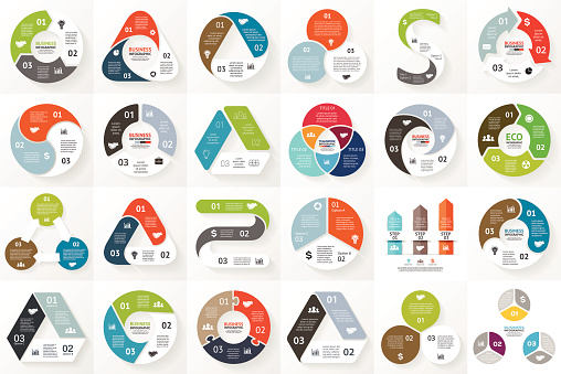 Vector circle arrows infographics set. Template for cycle triangle diagram