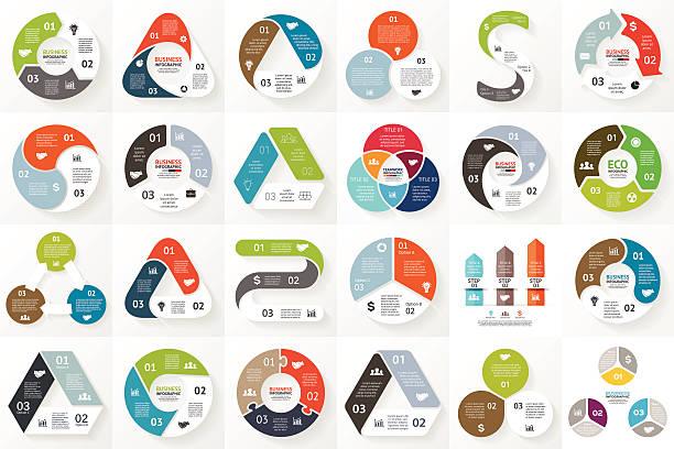 vektor-kreis pfeile infografiken set.   vorlage für cycle triangle diagramm - drei stock-grafiken, -clipart, -cartoons und -symbole