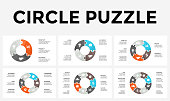 Vector circle arrows puzzle infographic, cycle diagram, graph, presentation chart. Business concept with 3, 4, 5, 6, 7, 8 options, parts, steps, processes