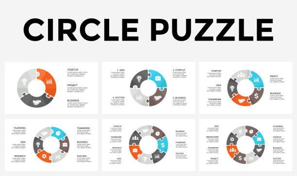 wektorowe strzałki strzałki puzzle infografika, diagram cyklu, wykres, wykres prezentacji. koncepcja biznesowa z 3, 4, 5, 6, 7, 8 opcji, części, kroki, procesy - część stock illustrations